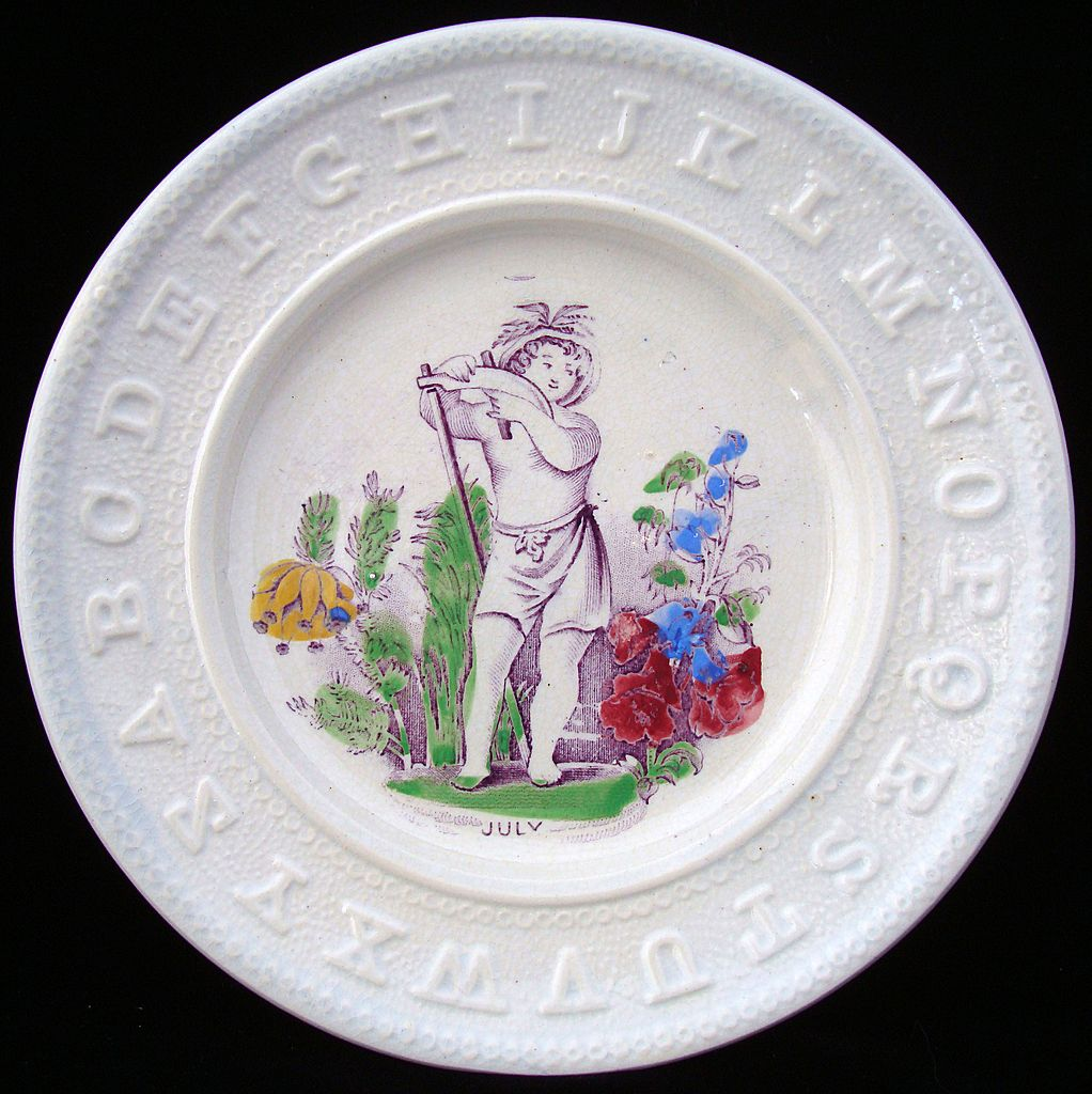 Antique ABC Pearlware Plate ~ JULY 1840