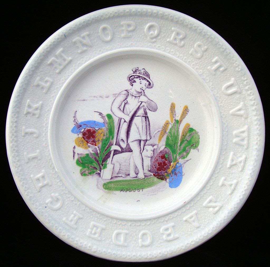 Antique ABC Pearlware Plate ~ AUGUST 1840