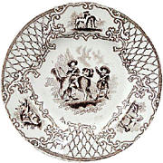 Early English Childs Transferware Plate ~Boys & Newfoundland Dog