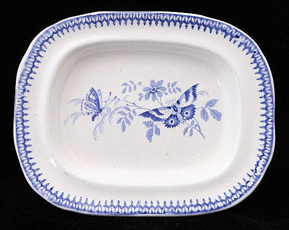Rare Pearlware Miniature Platter ~ Butterfly c1830