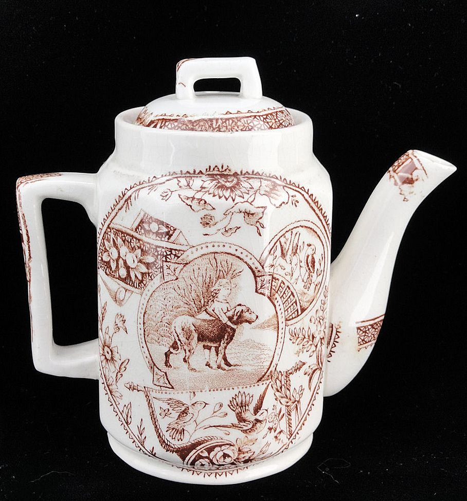 Early Childs Brown Aesthetic Transferware Teapot ~ Girl with Newfoundland Dog