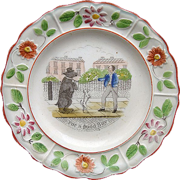 Pearlware Reward Plate ~ For a Good Boy 1820 Dancing Bear
