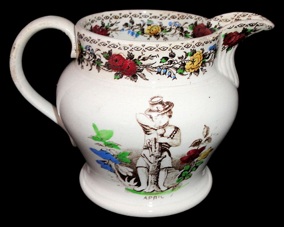 Childs Pearlware Milk Jug ~ Seasons Months ~ APRIL & JUNE