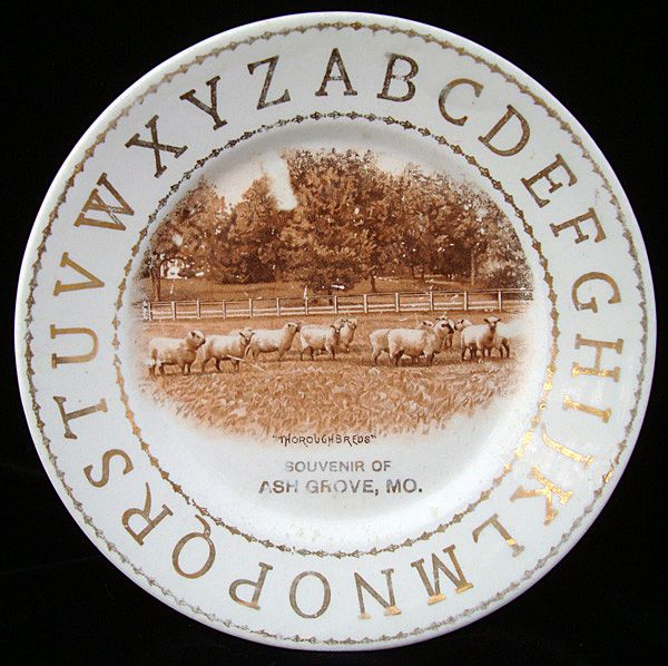 Hotel ABC Alphabet Plate ~ SHEEP Spring Grazing c1900 Harker