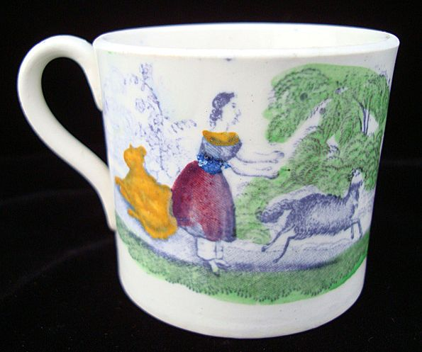 Pearlware Child's  Mug ~ GOAT & DONKEY 1840