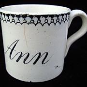Staffordshire Child's Mug ~ MARY ANN 1820