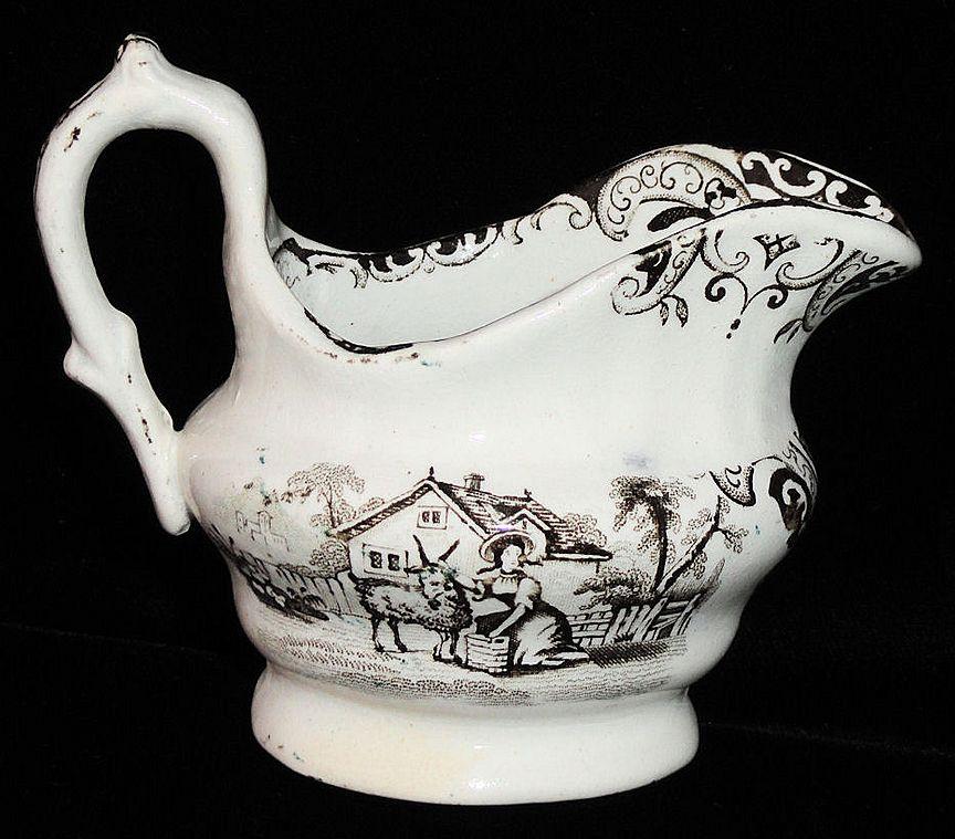 Early Brown Staffordshire Childs Tea Set Creamer ~ Godwin Goat 1840