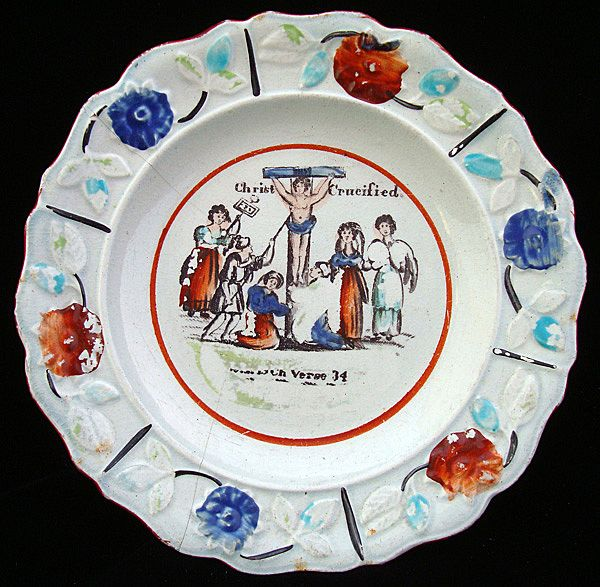 Rare Pearlware Christian Child's Plate ~ Christ on the Cross 1820 Motto
