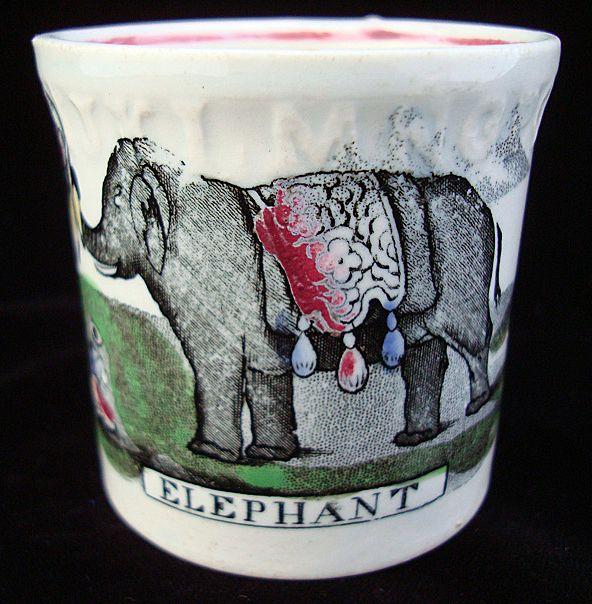 Pearlware Staffordshire ABC Mug ~ ELEPHANT ~ 1850