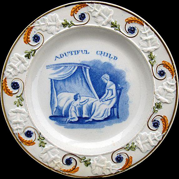 Pearlware Pratt Decorated Plate ~ A Dutiful Child 1820
