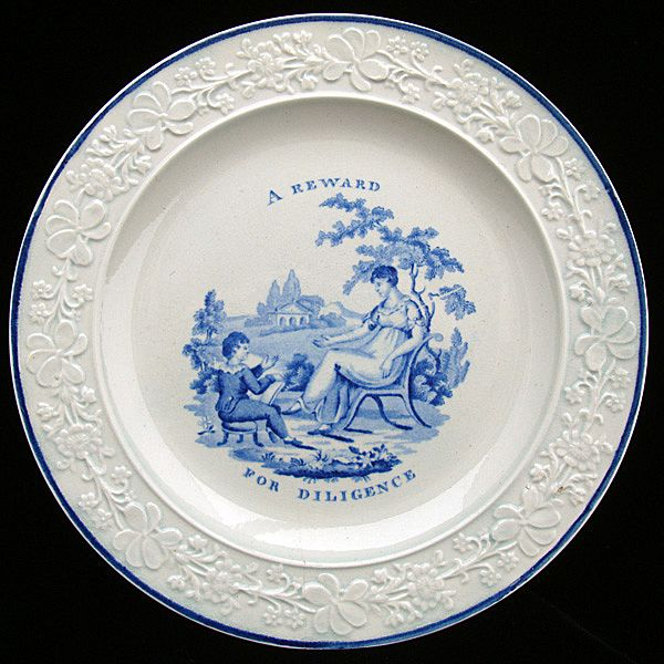 Creamware Plate ~ A Reward for Diligence 1820