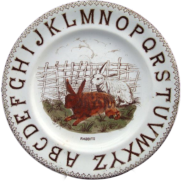Staffordshire ABC Alphabet Plate ~ TWO RABBITS 1880