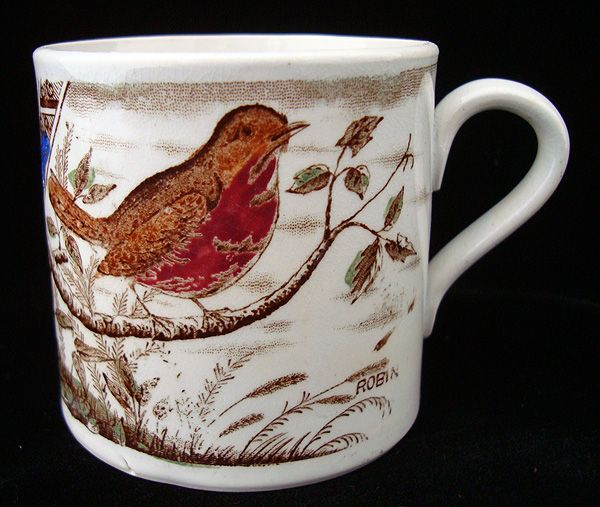 Alphabet Staffordshire Mug ~ ABC ROBIN ~ 1880
