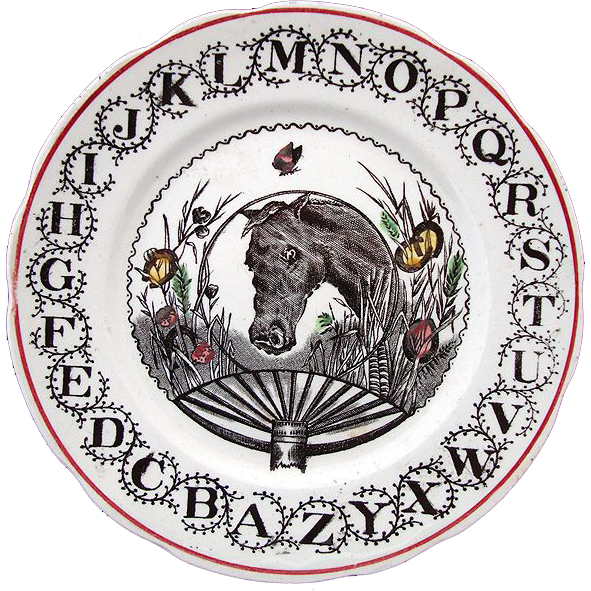 Black Transferware Alphabet ABC Plate ~ HORSE 1890