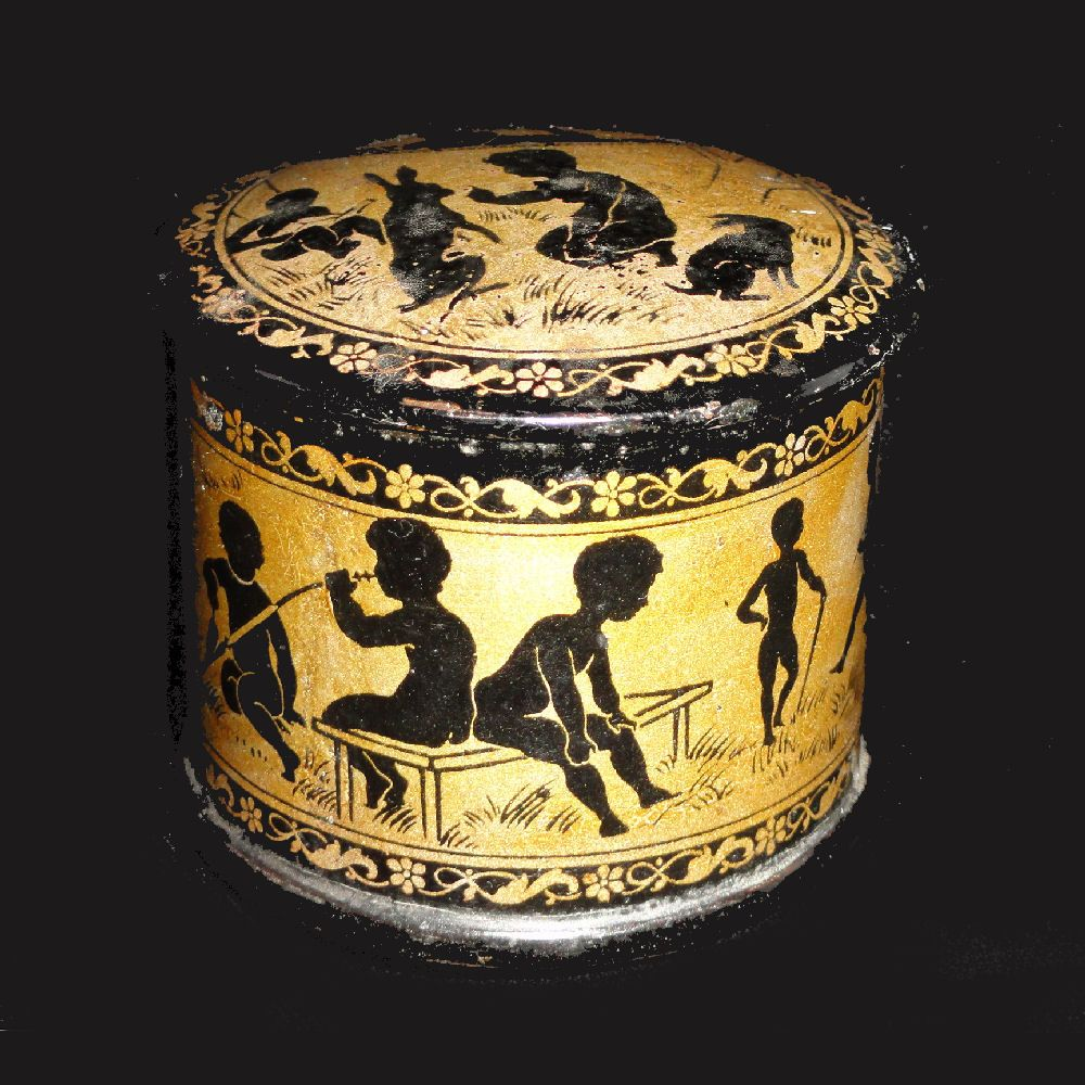 Fine English Lacquered Papier Mache Trinket Box ~ Silhouettes Rabbits & Children 1880