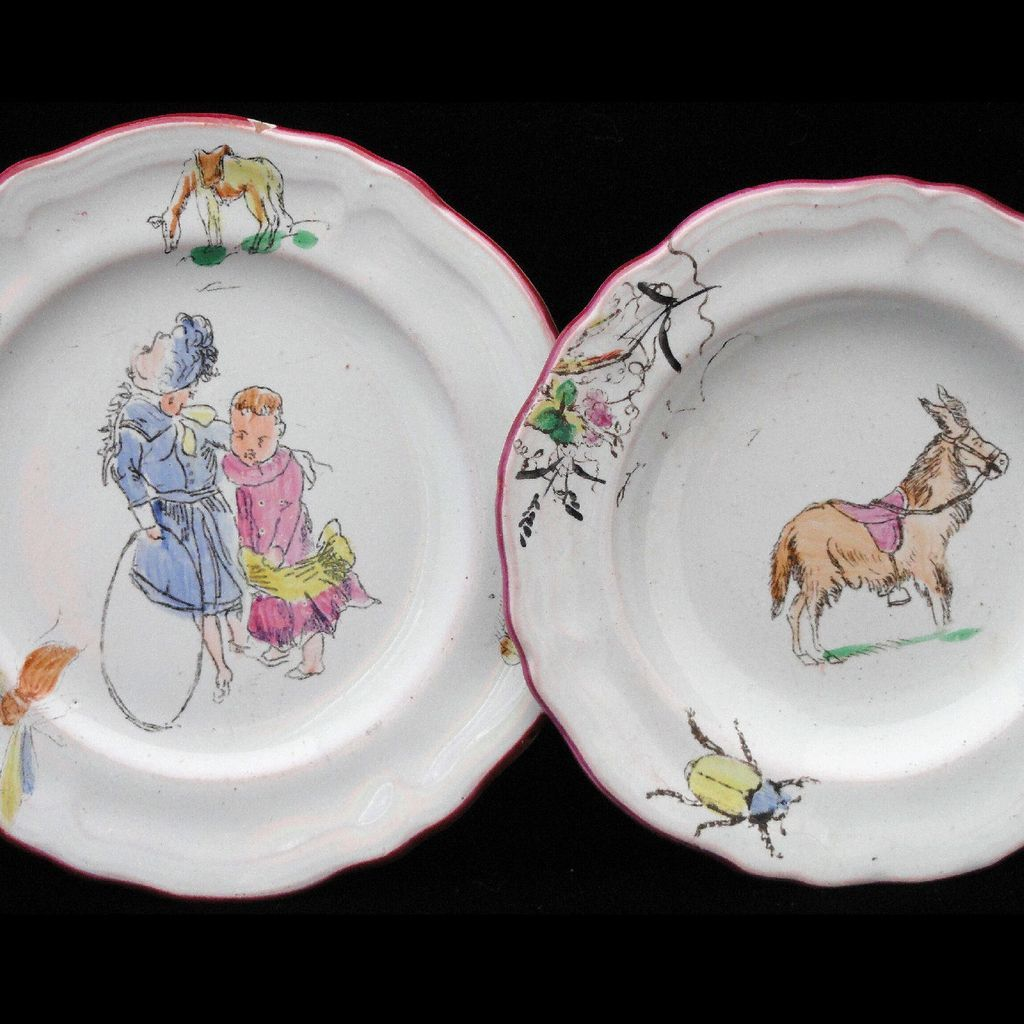 Colorful French Faience Childs Toy Plate Set ~ CIRCUS AMUSEMENTS Animals St Clement