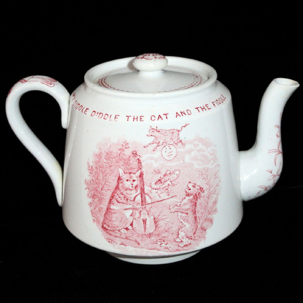 CAT FIDDLE COW MOON Antique Childs Transfer Printed Nursery Rhymes TEAPOT c1888