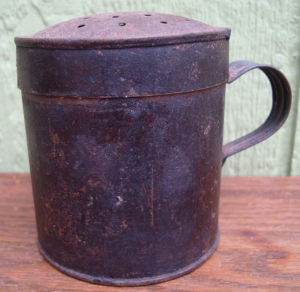 Antique Civil War Era Tin Sifter Shaker 1860