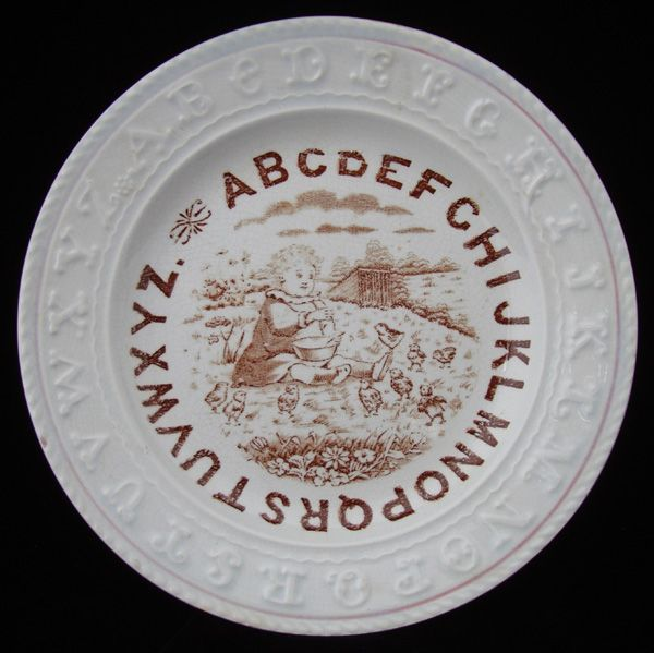 Staffordshire Double ABC Plate ~ Lil Chicks 1880