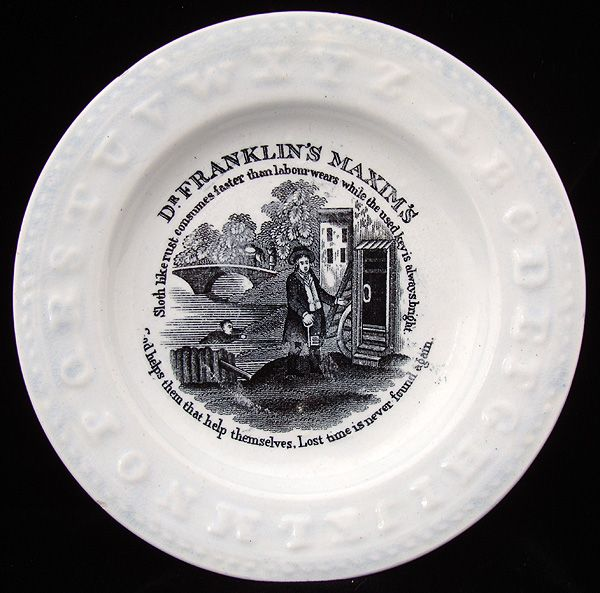 Early Pearlware ABC Plate ~ Lost Time is Never Found 1840