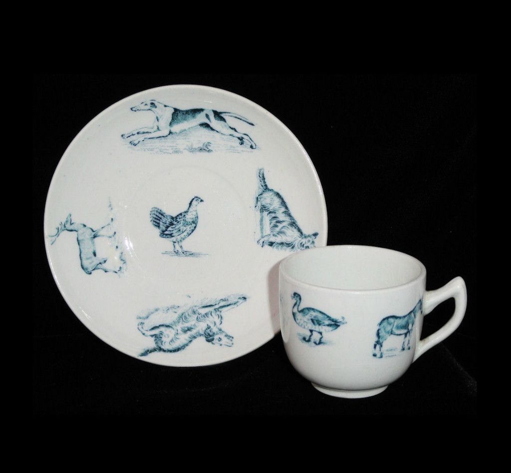 Victorian Childs Animals 2pc Tea Set ~ ZOO ANIMALS Pig Turkey Duck Dog
