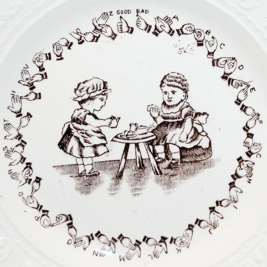 Rare Childs Sign Language Alphabet ABC Plate ~ TEA PARTY Deaf Children c1840