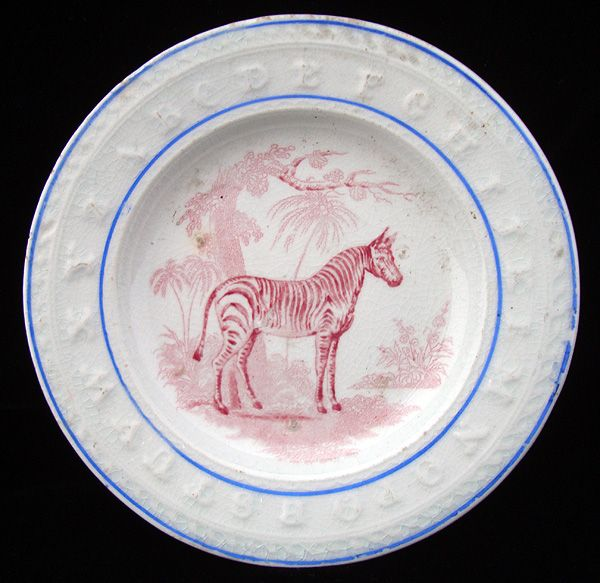 19th Century 2 Color ABC Plate ~ ZEBRA 1840