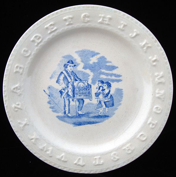 19th Century English ABC Plate ~ Organ Grinder 1860