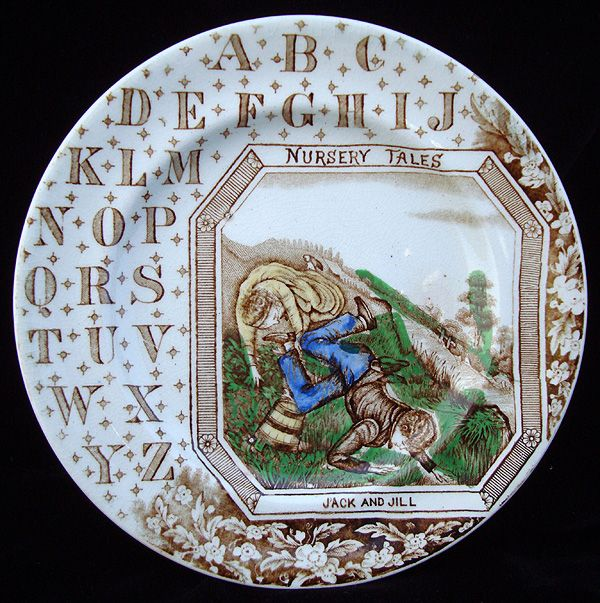 Antique English ABC Plate ~ JACK and JILL 1880
