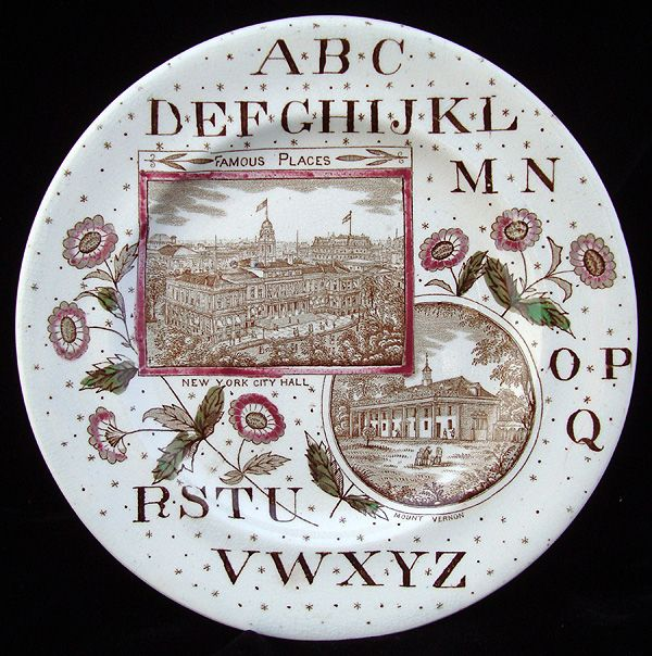American Historical ABC Plate ~ NYC & Mt. Vernon 1880