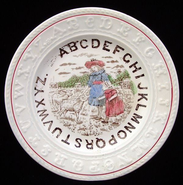 Antique English ABC Plate ~ Mary & Lamb 1860