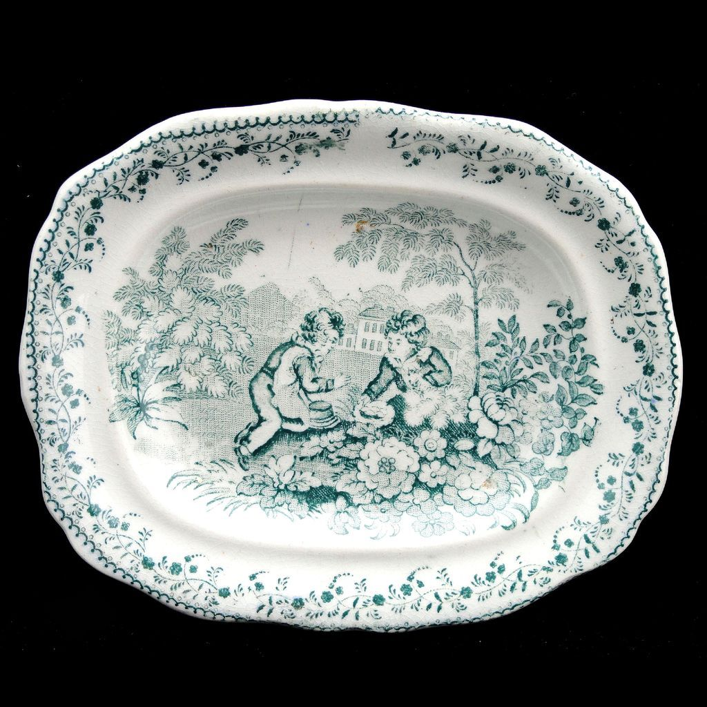 Staffordshire Childs Miniature Dinner Set Platter BIRDS NEST GARDEN SPORTS 1835