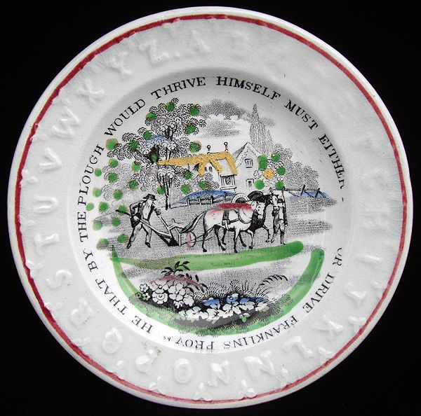 ABC Alphabet Plate ~ Plough Hold or Drive 1840