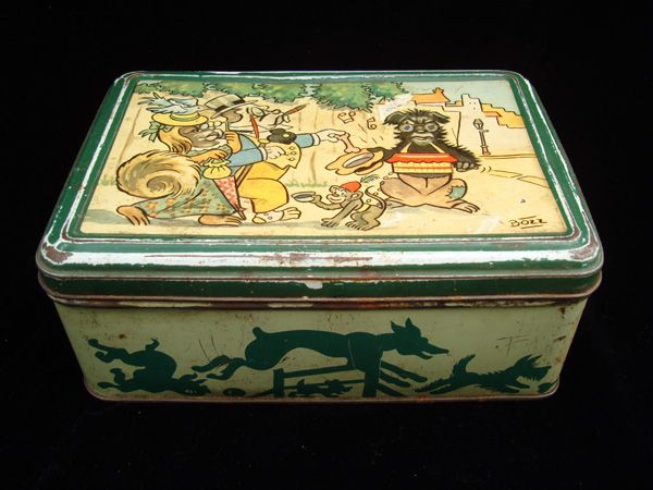 Early Comic Strip Biscuit Tin ~ Begging Dog 1920
