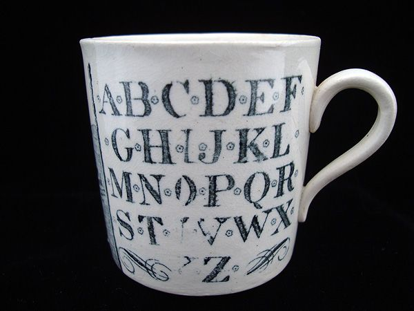Antique Alphabet Nursery Mug ~ Early Houseboats 1880