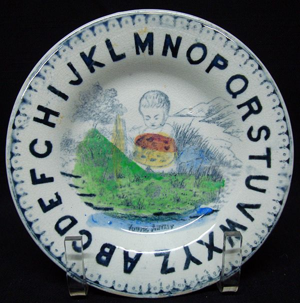 Early Childs Pearlware ABC Plate ~ Young Artist 1860