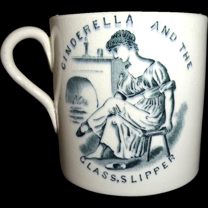 Cinderella Mother Hubbard Dog Childs Mug 1880 ABC Nursery Tales Staffordshire