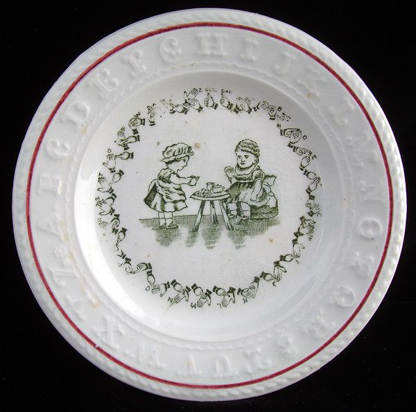 Rare Sign Language Alphabet ABC Plate ~  1890