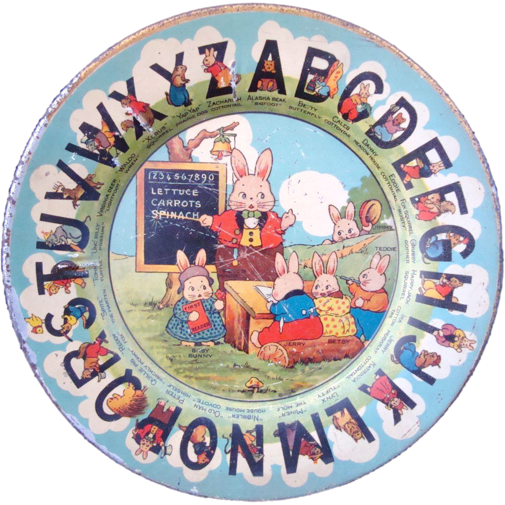 Rare Early Tin ABC Plate ~ Peter Rabbit and Friends