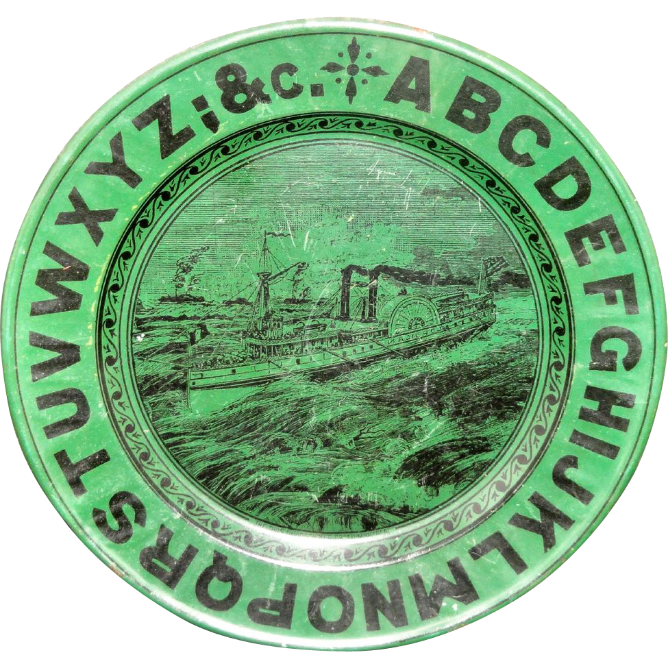 RARE Canadian Tin Alphabet ABC Advert Plate Montreal Paddle Steamer Ship c1900