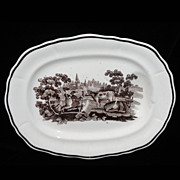 Rare Pearlware Child Well & Tree Platter Cows Farm 1820 Staffordshire