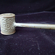 Antique Civil War Era Child's Tin Whistle and Rattle 1860