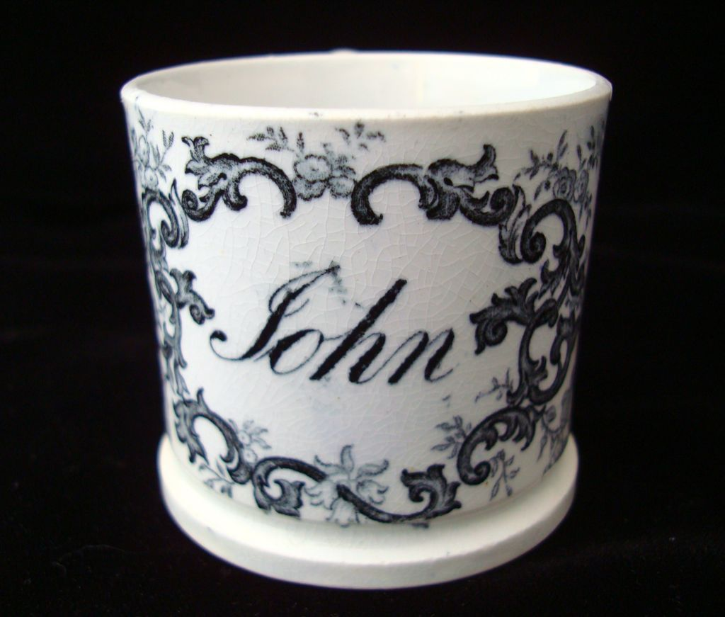 Early Pearlware Christening Child's Mug ~ JOHN 1830