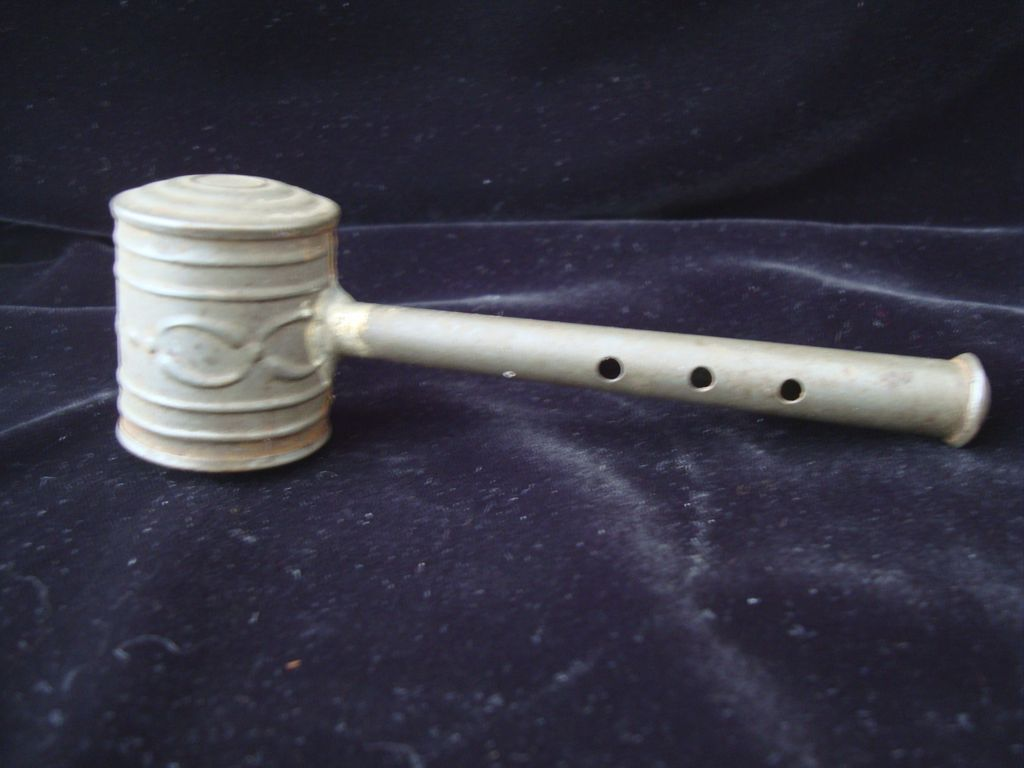 Civil War Era Child's Tin Whistle Rattle 1860