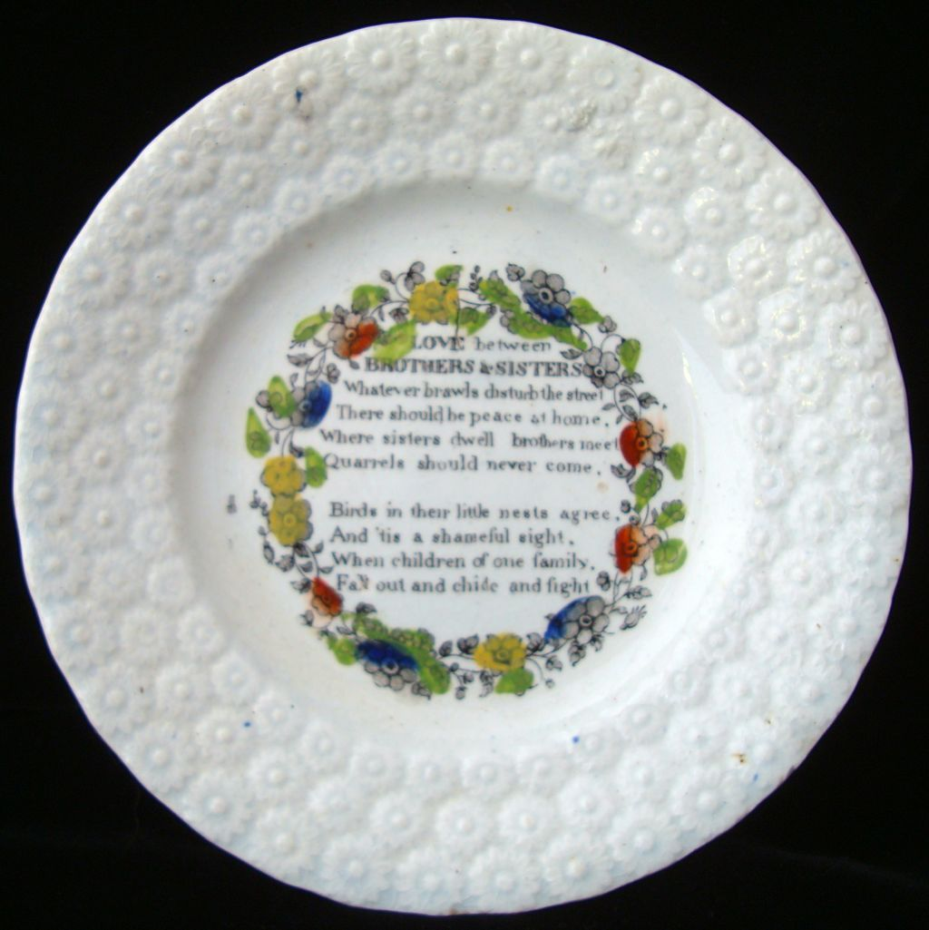 Pearlware Child's Transferware Plate ~ Brothers & Sisters 1840