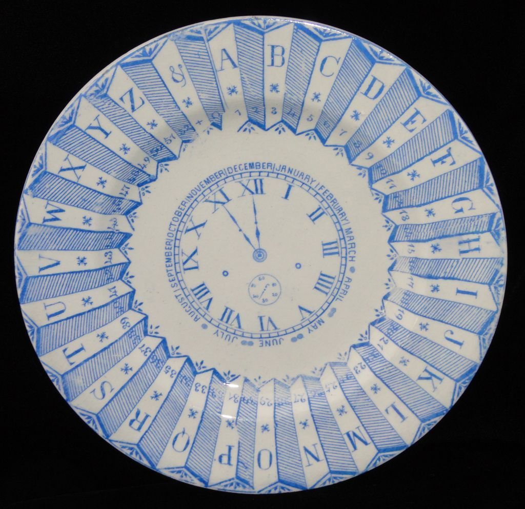 Blue ABC Plate ~ Clock Numbers Calendar 1887
