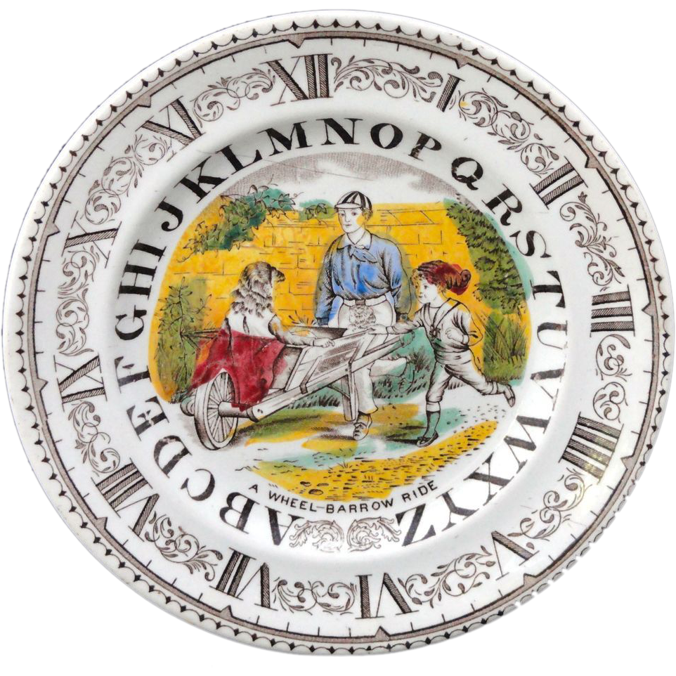 English Alphabet Plate ~ Clock ~ A Wheel-Barrow Ride 1880