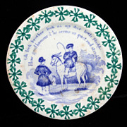 Toy Spongeware Spatter Transfer Child Horse Plate c1830 Staffordshire Rhyme