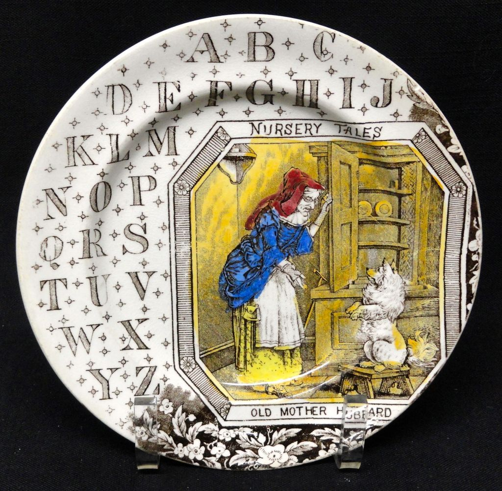 19th Century Nursery Plate ~ Old Mother Hubbard 1880