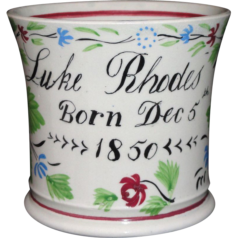 Staffordshire Childs Adams Rose CHRISTENING CUP name LUKE RHODES dated Dec 5 1850